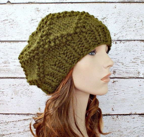 Instant Download Knitting Pattern - Knit Hat Knitting Pattern - Knit Hat Pattern - Brocade Beret Pattern - Slouchy Hat Womens Hat