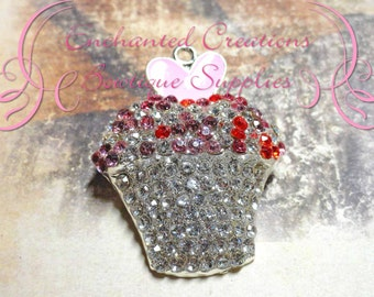 48mm Rhinestone Valentine's Day Multicolored Cupcake Pendant With Enamel Heart Topper