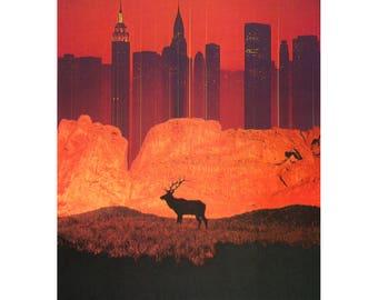 Dystopian wilderness art print, Environmental art, Contemporary art, Apocalyptic art, Original artwork, Urban future art, Bright modern