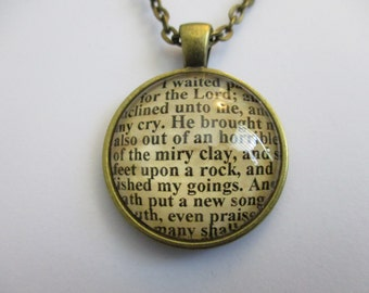 Bible Verse Necklace - Scripture Necklace - Psalm 40:1-3 I Waited Patiently For The Lord - Christian Necklace - Gift Box Included