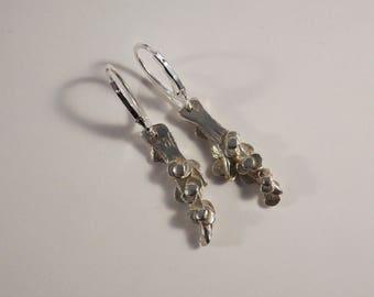 Flowers on branch earrings handmade in silver 925