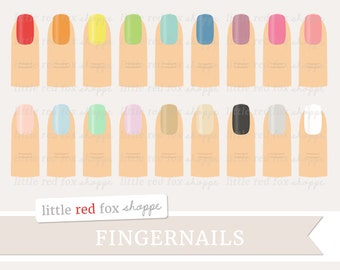 Fingernail Clipart, Nail Polish Clip Art, Cosmetics Clipart, Manicure Clipart, Beauty, Cute Digital Graphic Design Small Commercial Use