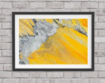 Abstract art print, glicee quality, limited edition, contemporary, yellow and grey,
