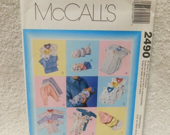 Mccalls 2490 Preemie Infant Layette Sewing Pattern