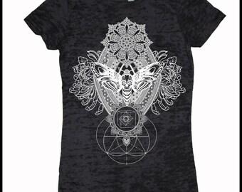 Women's IMPERMANENCE Mandala T-Shirt Psychedelic Sacred Geometry Style Tee