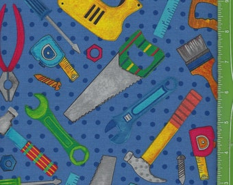 Tool Time, Tools on Blue,Blank Quilting