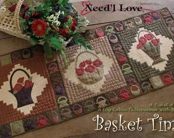 Need'l Love Basket Time Log Cabin Tablerunner Pattern - QP5
