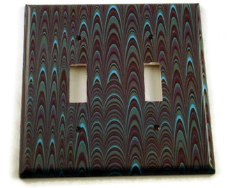 Double Light Switch Cover Wall Decor Switchplate  Switch Plate in Blue Marble  (083D)