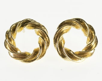 14K Grooved Round Spiral Twist Post Back Earrings Yellow Gold