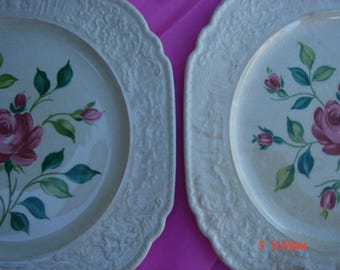 Antique Netherlands Universal Cambridge Hand Painted Red Roses China  - Beautiful