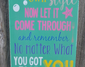 The Little Mermaid Ariel Quote Hand Painted Typography Sign