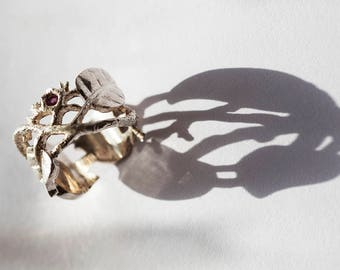 Vines and leaves silver ring