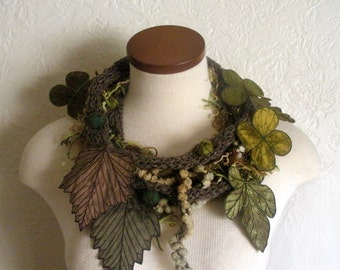Leaf Scarf- Tweedy Brown Umber with Dark Sage, Golden Olive, Olive Green, and Bronze Embroidered Leaves- Fiber Art Scarf