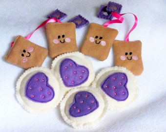 Felt play food - pretend food - play kitchen food -  Purple Heart cookies with Teabags and purple tags - birthday party #PF2537