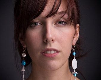 Endless statement earrings blue Murano glass, teardrop Swarovski, white shells, pearls, genuine Venetian beads, long asymmetrical earrings