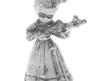 Pewter Figurine Little Girl with a Musical Violin