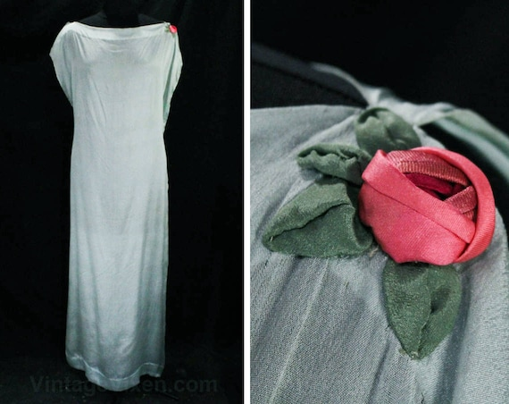 XL Rose Authentic 1920s Bust Grecian Goddess All 20's Applique Sewn Chemise Chic Sheer Silk 1910's Dress 20s 46 Hand 49459 Blue rxFr8wq