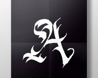 Hand-Lettered Calligraffiti Calligraphy Letter A - Digital Download 8.5x11