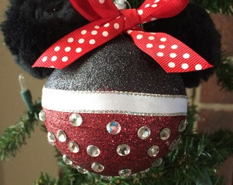 Minnie Mouse Inspired Glitter Ornament