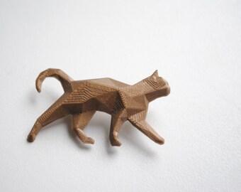 Bronze cat - 3D printed polygonal brooch