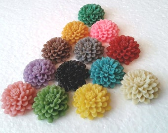 Chrysanthemum Spring Flower Clip On Earrings Choose Your Colors
