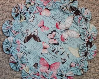 """Butterflies on Blue 12"""" Yo Yo Doily"""