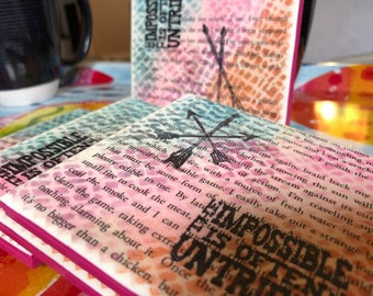 I Volunteer | Hunger Games Upcycled Book Page Coasters