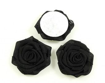 Set of 3 diameter 4.5 cm - black fabric flowers
