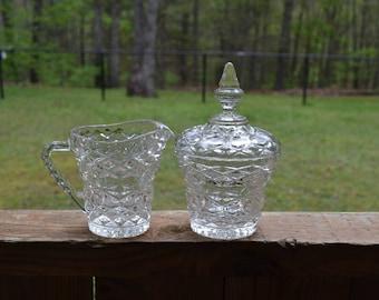 Vintage Pressed Glass Sugar Bowl and Creamer Set Collectible Glassware PanchosPorch