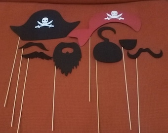 8 accessories for photocall of pirate rubber eva, weddings, birthdays, parties