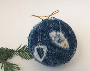 Indigo Mudcloth Christmas Ornament