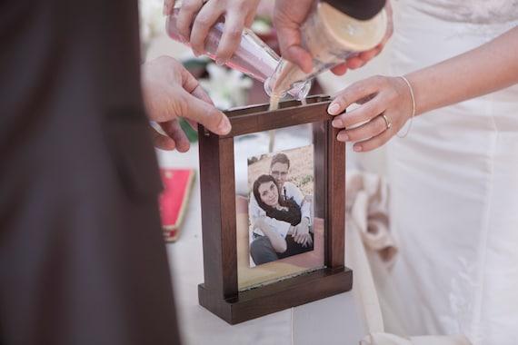 Rustic Unity Wedding Sand Ceremony Photo Frame - Chocolate Brown ...