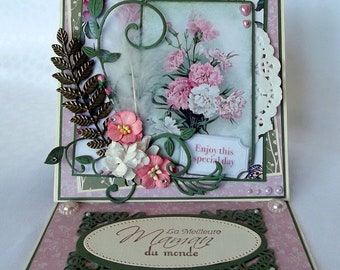 Handmade mother's Day card, card shabby for woman, gift for her, mother's day, 3D card, Mum