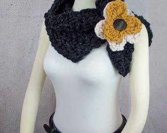 Cowl Crochet Pattern Neckwarmer Crochet Pattern Infinity Scarf Crochet Pattern Flower Split Cowl Easy Crochet Pattern Neck Warmer