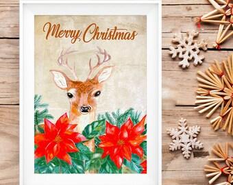 Christmas print, Merry Christmas, Christmas Decor, Watercolor Christmas cardinal Print
