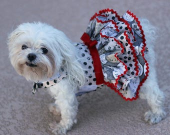 Dog Dress, Dog Harness Dress, Dog Fashion for Small Dog, Ruffle Dress for Dogs, Summer Dress for dog, Polka Dot Dog Dress , Handmade, Watch