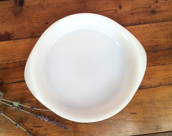 White Glasbake Milk Glass Shallow Pie Plate, Mid Century, Two Available