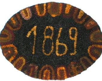 Primitive Folkart 1869 Hooked Rug Mat KIT  Rue23paris Collectibles