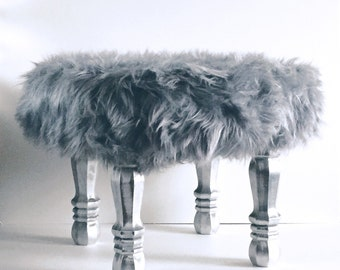 Grey Faux Fur Stool, Fur Covered Stool, Accent Piece, Regency Modern Foot Stool, Faux Fur Foot Stool, Vanity Stool