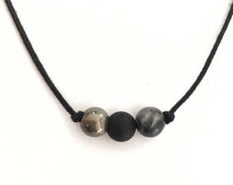 Pyrite choker, Choker with stones, Black bead choker, Layering choker, Black stone choker, Onyx choker, Natural stone jewelry, Boho choker