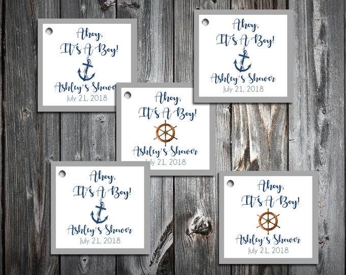 25 Nautical Ahoy It's A Boy Baby Shower Favor Tags.  Price includes personalization, printing.