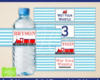 Train Water Bottle Labels -  Train Water Bottle Wraps - Choo Choo Train Bottle Labels- Train Party Decor - Emailed & Shipped