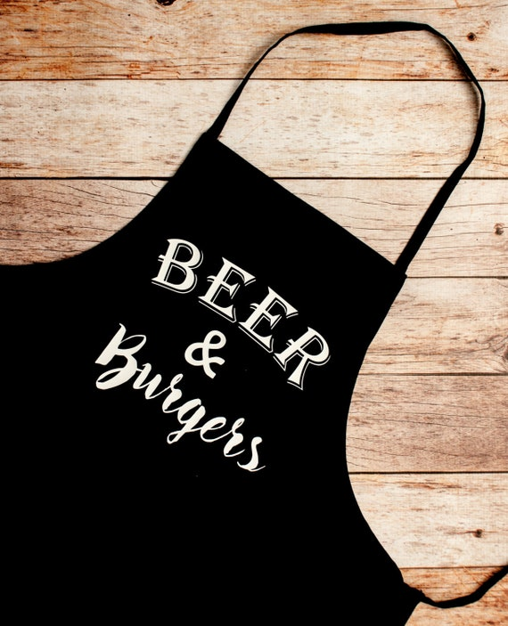 Fathers Day Dad Husband Fiance Gift,BBQ Grill Apron,Beer & Burgers,Gift for Him, Grill Master, Bar-b-que pit, summer outdoor cook chef party