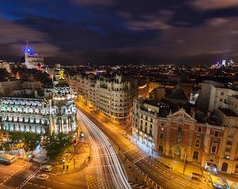 Metropolis, Gran Via, Madrid, Spain, España, Night, Cityscape, Architecture - Travel Photography, Print, Wall Art
