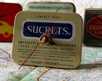 Vintage Sucrets Tin Clock - 1970's