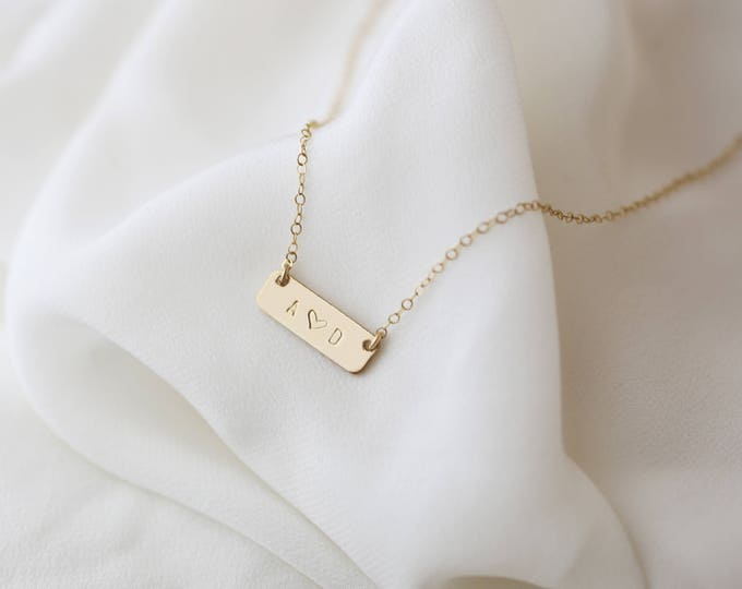 Small Name Necklace, Mini Bar Necklace, Custom Engraved Name Gift for her, Mother's necklace