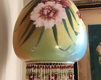 Vintage/Antik Pendelleuchte handgemachte böhmische/Gypsy, Glas-Windlicht mit Perlenfransen
