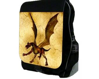 Golden Dragon - Large Black School Backpack