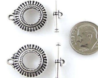 TierraCast Toggle Clasps-Antique Silver Sunburst (2 Sets)