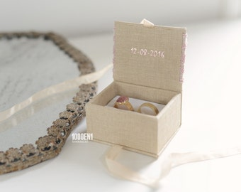 Ring box with vintage wedding lace, personalized with letterpress, weddingdate inside the cover